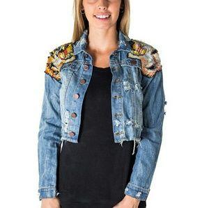 Jackets & Blazers - embroidered tiger distressed denim jeans jacket
